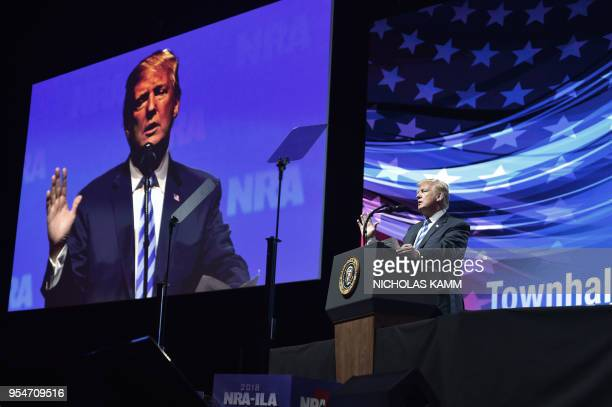 US President Donald Trump speaks at the NRAILA Leadership Forum during the NRA Annual Meeting Exhibits at the Kay Bailey Hutchison Convention Center...