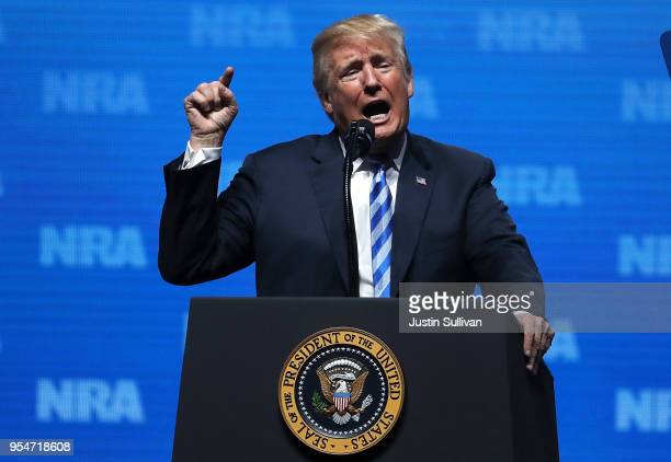 S President Donald Trump speaks at the NRAILA Leadership Forum during the NRA Annual Meeting Exhibits at the Kay Bailey Hutchison Convention Center...