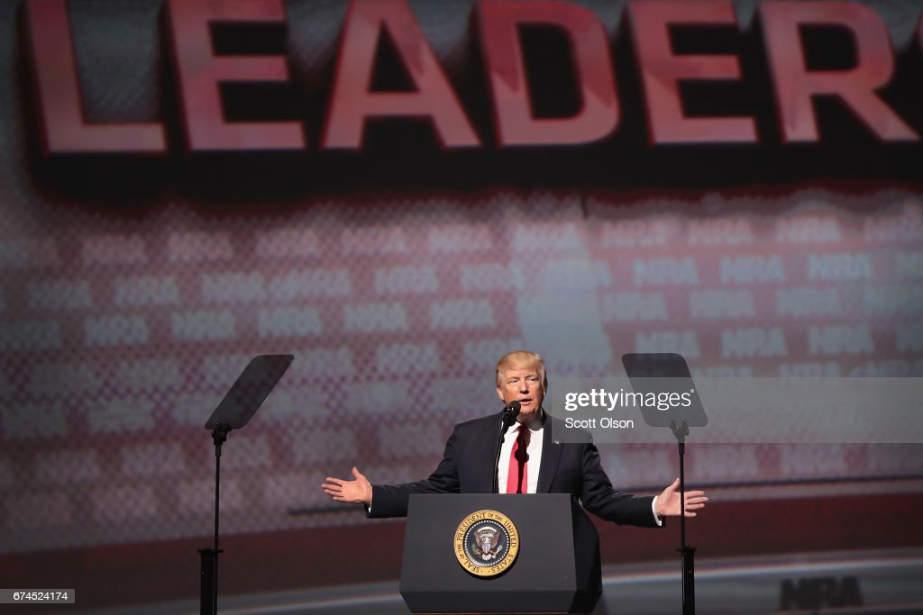 President Donald Trump speaks at the NRA-ILA's Leadership Forum at the 146th NRA Annual Meetings & Exhibits on April 28, 2017 in Atlanta, Georgia. The convention is the largest annual gathering for the NRA's more than 5 million members. Trump is the first president to address the annual meetings since Ronald Reagan.