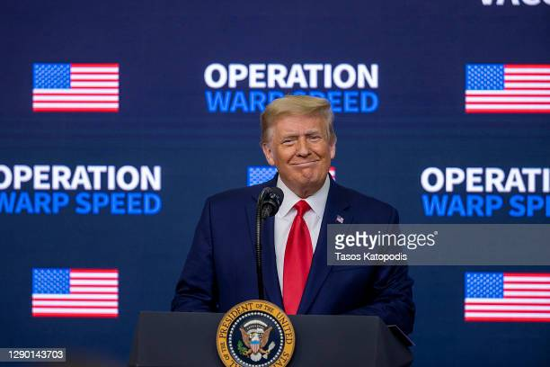 President Donald Trump speaks at the Operation Warp Speed Vaccine Summit on December 08, 2020 in Washington, DC. The president signed an executive...
