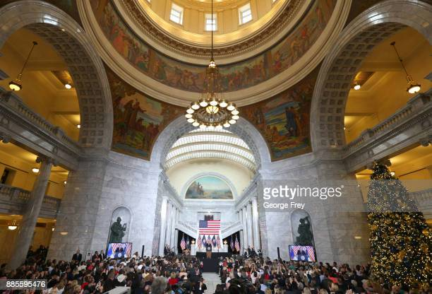 S President Donald Trump speaks at the Rotunda of the Utah State Capitol on December 4 2017 in Salt Lake City Utah Trump announced the reduction in...