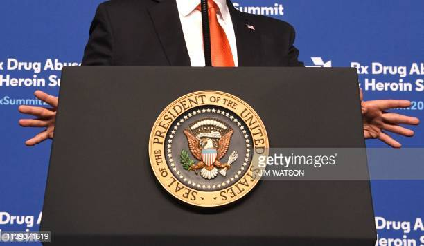 US President Donald Trump speaks at the Rx Drug Abuse and Heroin Summit on April 24 in Atlanta Georgia