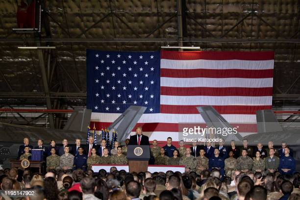 President Donald Trump speaks at the signing ceremony for S.1709, The National Defense Authorization Act for Fiscal Year 2020 on December 20, 2019 in...