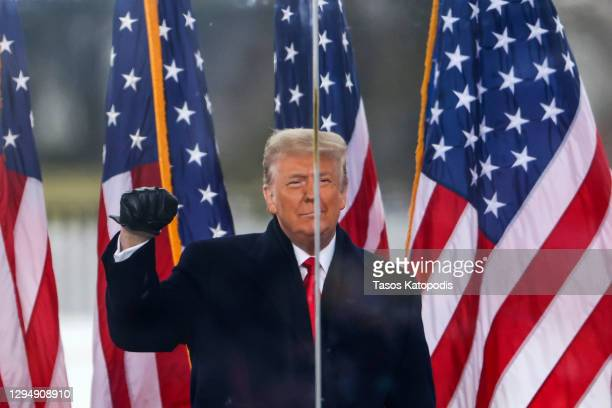 "President Donald Trump speaks at the ""Stop The Steal"" Rally on January 06, 2021 in Washington, DC. Trump supporters gathered in the nation's capital..."