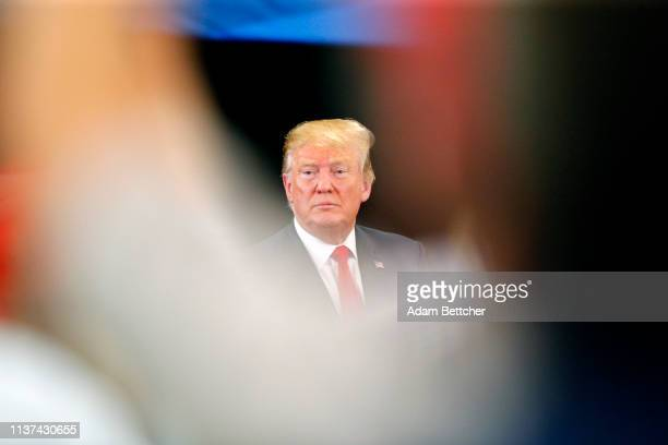 S President Donald Trump speaks attends a roundtable on the economy and tax reform at Nuss Trucking and Equipment on April 15 2019 in Burnsville...
