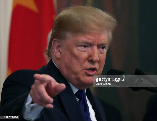 President Donald Trump speaks before he and Chinese Vice PremierLiuHe, before signed phase 1 of a trade deal between the U.S. And China, in the...