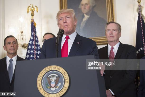US President Donald Trump speaks before signing a memorandum on addressing China's laws policies practices and actions related to intellectual...