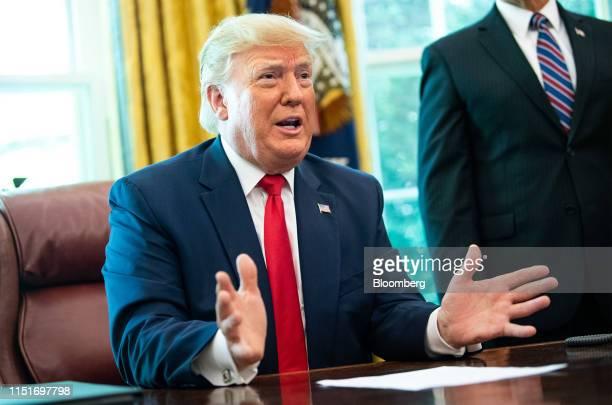 US President Donald Trump speaks before signing an executive order imposing sanctions on Iran's supreme leaderAyatollah Ali Khamenei in the Oval...
