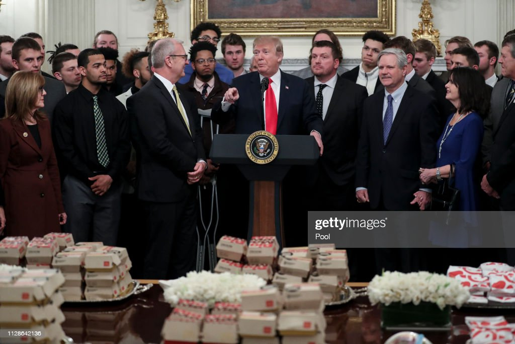 President Donald Trump Welcomes FCS National Champ North Dakota State Bison to the White House : News Photo