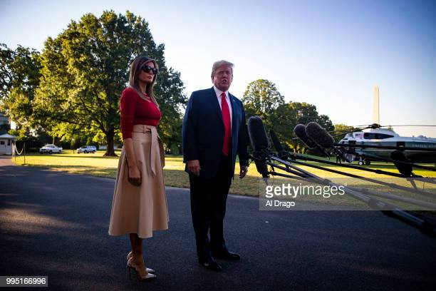 S President Donald Trump speaks beside First lady Melania Trump on the South Lawn before boarding Marine One and departing the White House on July 9...