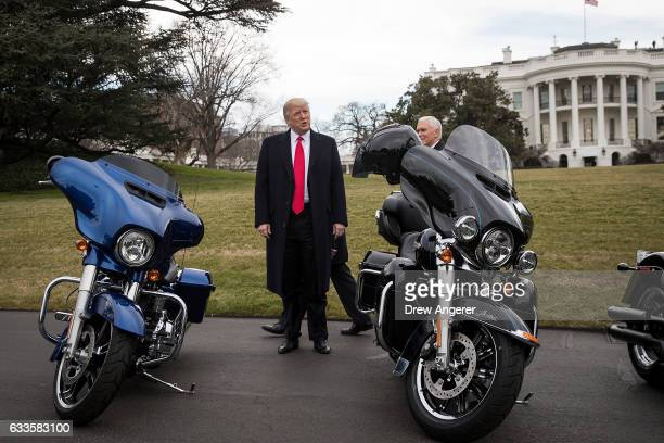 President Donald Trump speaks briefly to reporters after greeting Harley Davidson executives on the South Lawn of the White House February 2 2017 in...