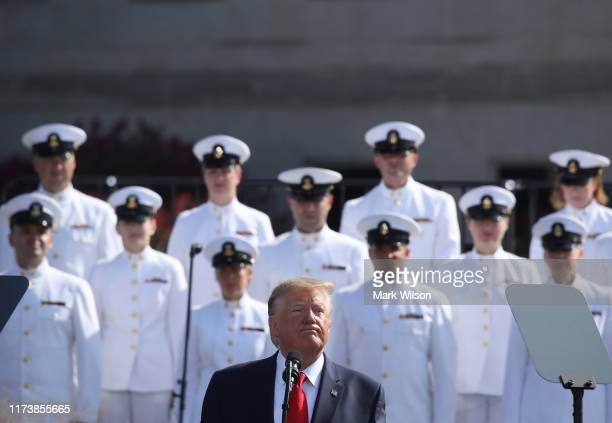 S President Donald Trump speaks during a 911 memorial ceremony at the Pentagon to commemorate the anniversary of the 9/11 terror attacks September 11...