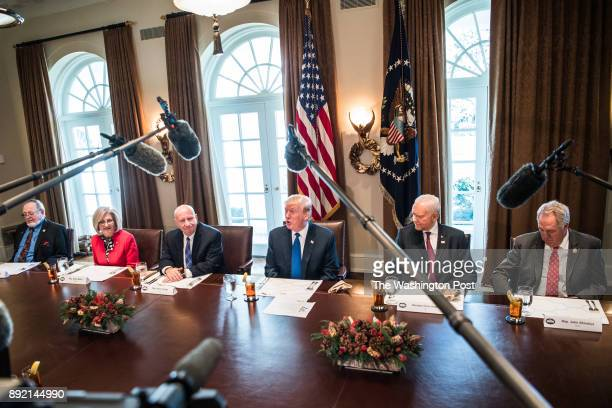 President Donald Trump speaks during a bicameral meeting with lawmakers working on the tax cuts in the Cabinet Room of the White House Wednesday Dec...