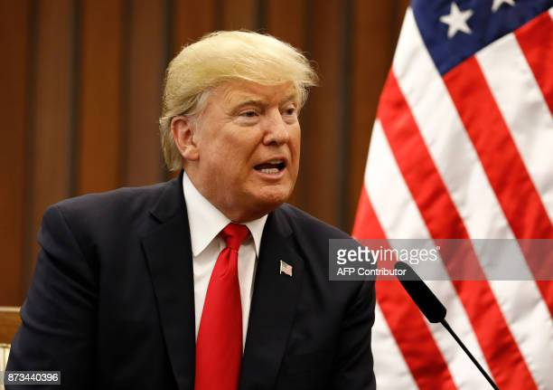 US President Donald Trump speaks during a bilateral meeting with Philippine President Rodrigo Duterte on the sidelines of the 31st Association of...