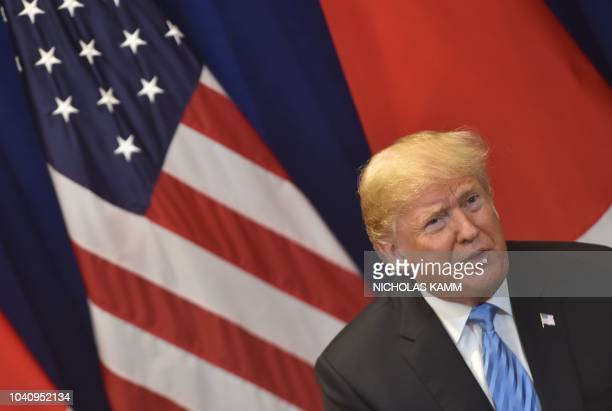 US President Donald Trump speaks during a bilateral meeting with Japanese Prime Minister Shinzo Abe September 26 2018 on the sidelines of the United...