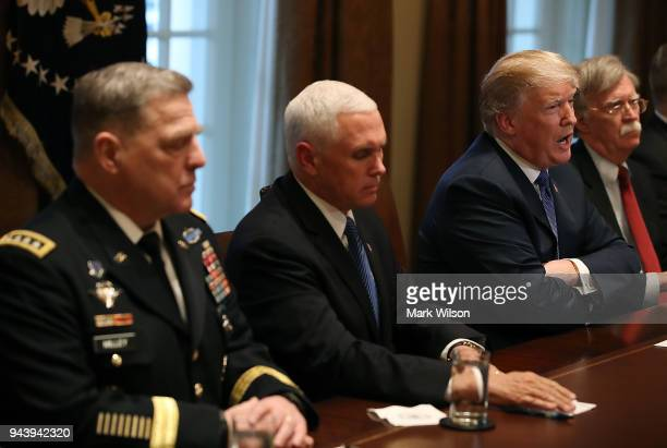 S President Donald Trump speaks during a briefing from senior military leaders regarding Syria in the Cabinet Room on April 9 2018 in Washington DC...