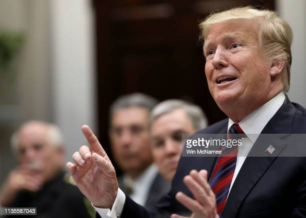 S President Donald Trump speaks during a briefing on drug trafficking on the southern border of the United States March 13 2019 in Washington DC...