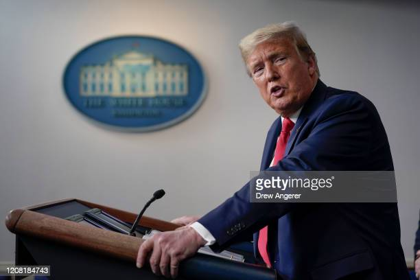 President Donald Trump speaks during a briefing on the coronavirus pandemic, in the press briefing room of the White House on March 24, 2020 in...
