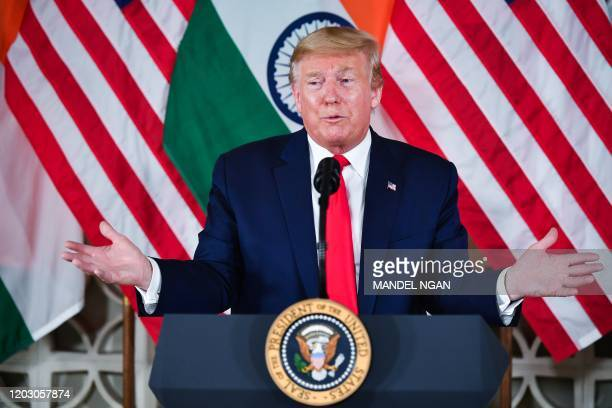 US President Donald Trump speaks during a business roundtable meeting at Roosevelt House in New Delhi on February 25 2020