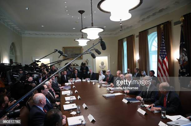 S President Donald Trump speaks during a cabinet meeting at the White House June 21 2018 in Washington DC Trump spoke extensively about current...