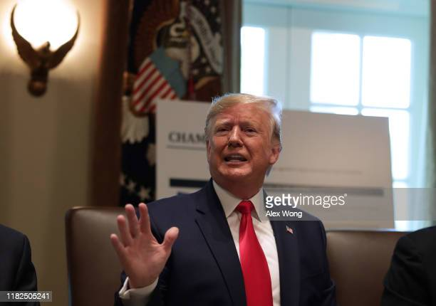 S President Donald Trump speaks during a cabinet meeting in the Cabinet Room of the White House October 21 2019 in Washington DC President Trump held...