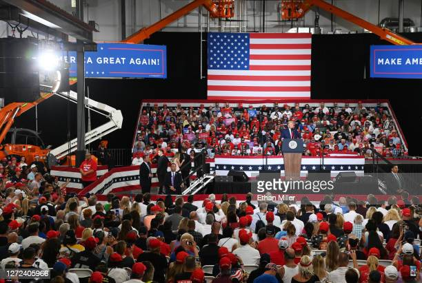 President Donald Trump speaks during a campaign event at Xtreme Manufacturing on September 13, 2020 in Henderson, Nevada. Trump's visit comes after...
