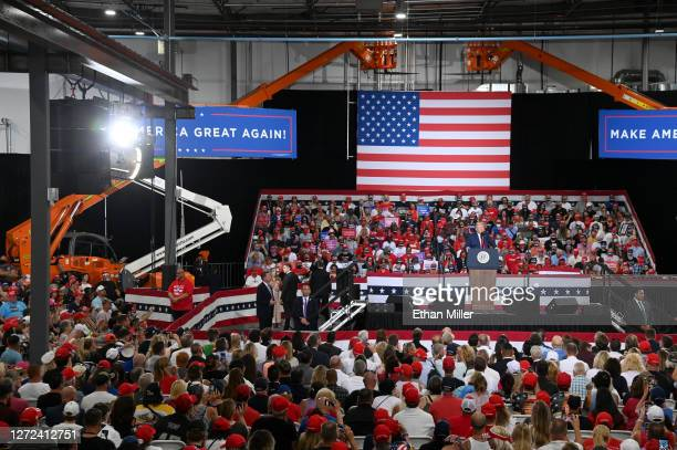 S President Donald Trump speaks during a campaign event at Xtreme Manufacturing on September 13 2020 in Henderson Nevada Trump's visit comes after...