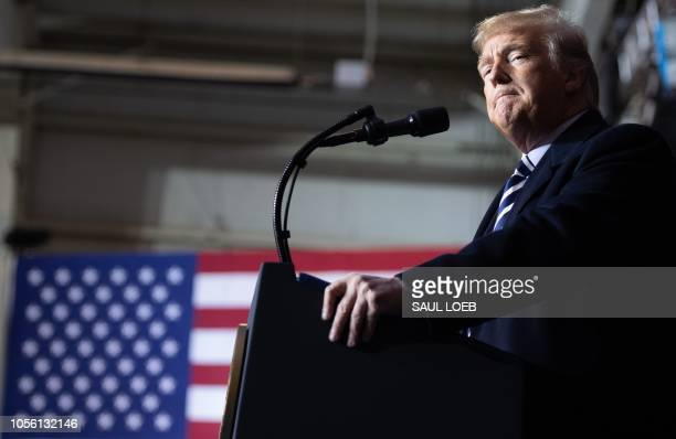US President Donald Trump speaks during a campaign rally at Columbia Regional Airport in Columbia Missouri November 1 2018