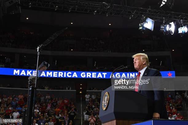 US President Donald Trump speaks during a campaign rally at Ford Center in Evansville Indiana on August 30 2018