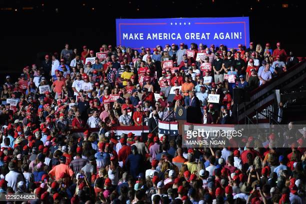 President Donald Trump speaks during a campaign rally at Pensacola International Airport in Pensacola, Florida on October 23, 2020.