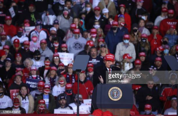 President Donald Trump speaks during a campaign rally at Richard B. Russell Airport on November 01, 2020 in Rome, Georgia. With two days to go until...