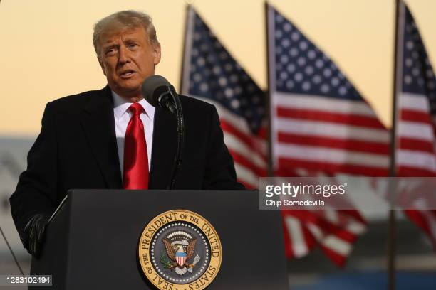 President Donald Trump speaks during a campaign rally at Rochester International Airport October 30, 2020 in Rochester, Minnesota. With Election Day...