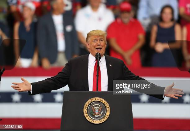 President Donald Trump speaks during a campaign rally at the Hertz Arena to help Republican candidates running in the upcoming election on October 31...