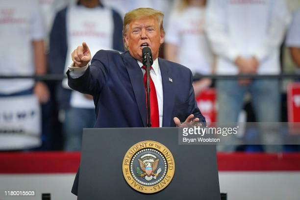 President Donald Trump speaks during a campaign rally at the Rupp Arena on November 4, 2019 in Lexington, Kentucky. The president was visiting...