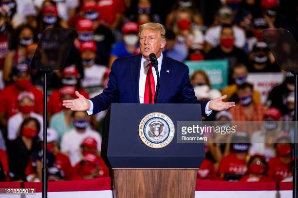 President Donald Trump speaks during a campaign rally at Xtreme Manufacturing's warehouse in Henderson, Nevada, U.S., on Sunday, Sept. 13, 2020....