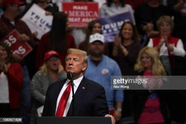 S President Donald Trump speaks during a campaign rally for Rep Marsha Blackburn and other Tennessee Republican candidates at the McKenzie Arena...