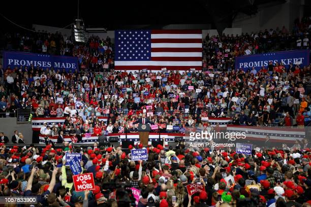 S President Donald Trump speaks during a campaign rally for Republican Senate candidate Mike Braun at the County War Memorial Coliseum November 5...