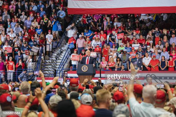 US President Donald Trump speaks during a campaign rally for Representative Ron DeSantis Republican candidate for governor of Florida not pictured in...