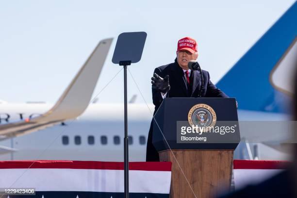 President Donald Trump speaks during a campaign rally in Fayetteville, North Carolina, U.S., on Monday, Nov. 2, 2020. Trumpand DemocratJoe...