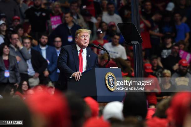 US President Donald Trump speaks during a campaign rally in Grand Rapids Michigan on March 28 2019