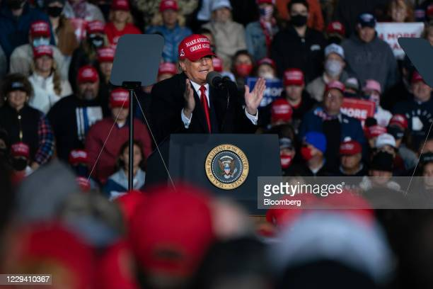 President Donald Trump speaks during a campaign rally in Rome, Georgia, U.S., on Sunday, Nov. 1, 2020. After striding into the 2020 election year...