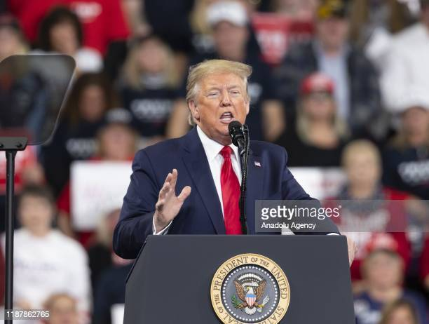 President Donald Trump speaks during a campaign rally on December 10, 2019 at Giant Center in Hershey, Pennsylvania, United States.
