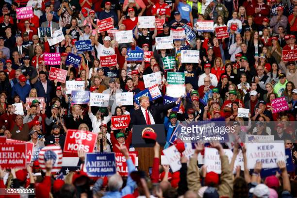 S President Donald Trump speaks during a campaign rally on November 2 2018 at Southport High School in Indianapolis Indiana President Trump is...