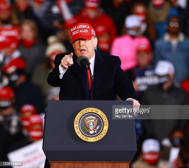 President Donald Trump speaks during a campaign rally on October 17, 2020 in Muskegon, Michigan. President Trump has ramped up his schedule of public...