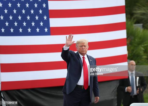 President Donald Trump speaks during a campaign stop at the Jupiter Inlet Lighthouse on Tuesday. On September 08, 2020 in Jupiter, Florida. President...