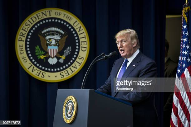 US President Donald Trump speaks during a 'Conversations with the Women of America' event at the Eisenhower Executive Office Building in Washington...