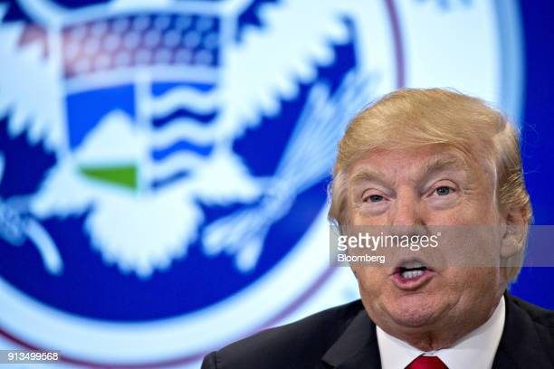 US President Donald Trump speaks during a Customs and Border Protection roundtable discussion after touring the CBP National Targeting Center in...