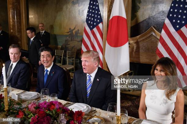 US President Donald Trump speaks during a dinner with Japan's Prime Minister Shinzo Abe Trump's MaraLago estate in Palm Beach Florida on April 18...