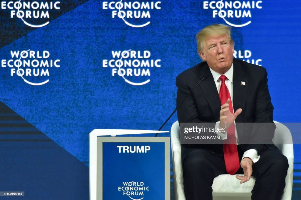US President Donald Trump speaks during a discussion during the World Economic Forum (WEF) annual meeting on January 26, 2018 in Davos, eastern Switzerland. / AFP PHOTO / Nicholas Kamm