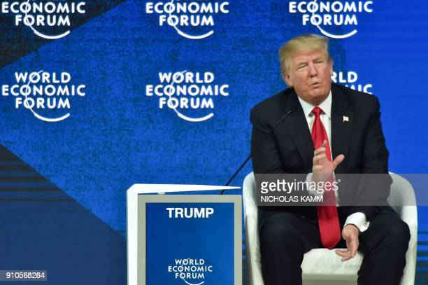 US President Donald Trump speaks during a discussion during the World Economic Forum annual meeting on January 26 2018 in Davos eastern Switzerland /...